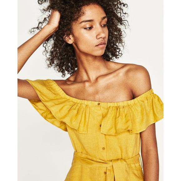 1a2e4a7484 Zara Yellow Linen Off The Shoulder Ruffle Dress
